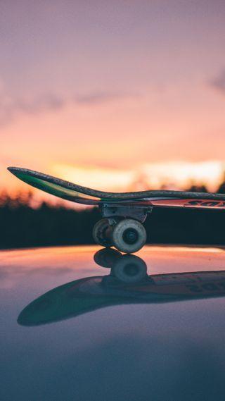 Обои на телефон скейт, спортивные, солнце, скейтборд, поездка, небо, любовь, закат, доска, вечер, love