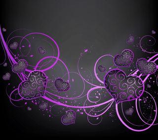 Обои на телефон фиолетовые, черные, сердце, любовь, векторные, абстрактные, purple black hearts, love