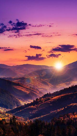 Обои на телефон холмы, градиент, природа, прекрасные, пейзаж, закат, горы