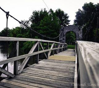 Обои на телефон мост, река, природа, вода