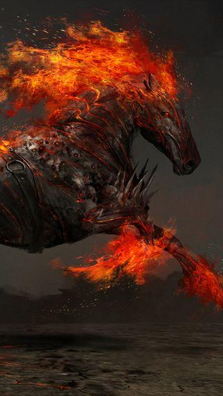Обои на телефон лошадь, черные, пламя, огонь