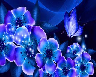 Обои на телефон мечты, цветы, синие, бабочки, абстрактные, blue dreams, blue butterfly