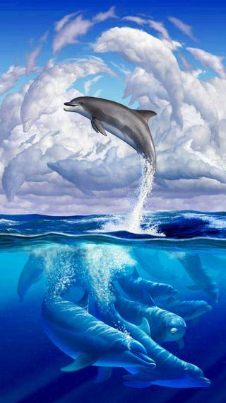 Обои на телефон облака, синие, небо, море, дельфины, арт, art