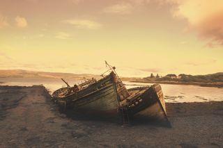 Обои на телефон конец, море, лодка, the end, sundown, hang in there, fishingboat
