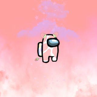 Обои на телефон розовые, любовь, амонг, vaca among us