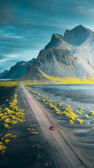 Обои на телефон небо, синие, природа, машины, дорога, длинный, горы, long road, hd