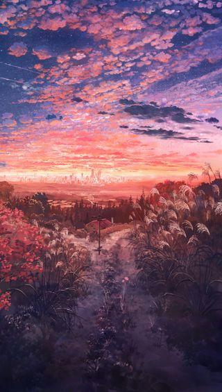 Обои на телефон поле, природа, аниме, anime nature