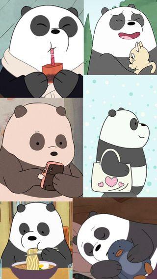 Обои на телефон эстетические, панда, милые, медведи, коллаж, tumblr, pandita, bare bears, bare