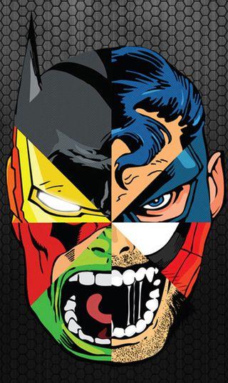 Обои на телефон железный человек, человек паук, халк, супермен, супергерои, росомаха, бэтмен, superhero mashup
