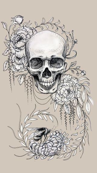 Обои на телефон панк, чернила, череп, цветы, хипстер, татуировки, тату, крутые, дизайн, арт, skull flowers tattoo, art