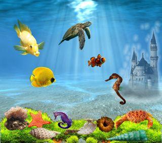 Обои на телефон подводные, рыба, океан, новый, море, замок, жизнь, животные, вода, 3д, 3d