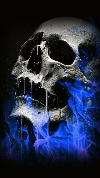 Обои на телефон пламя, череп, синие