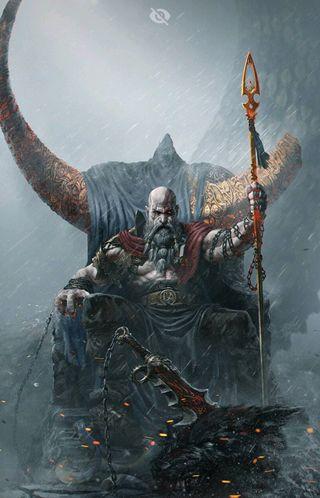 Обои на телефон война, бог, izaan, god of war