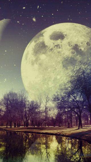 Обои на телефон яркие, ночь, луна