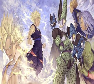 Обои на телефон мяч, мультфильмы, дракон, гоку, вегета, бой, trunks, dragon ball z, dbz fight