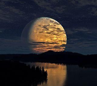 Обои на телефон сияющие, река, природа, луна, in the river, full moon shining