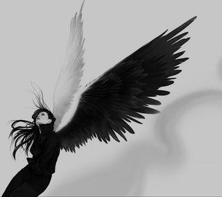 Обои на телефон готические, черные, крылья, женщина, девушки, белые, арт, ангел, art