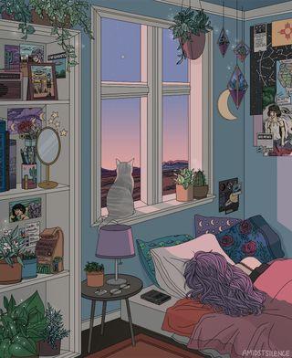 Обои на телефон окно, сон, ночь, небо, мультфильмы, кошки, комната, закат, жизнь, девушки, cat windowsill