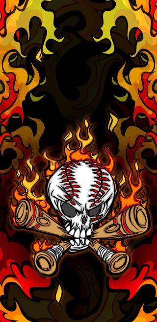 Обои на телефон бейсбол, череп, пламя, огонь, игра, flaminggame