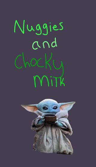 Обои на телефон молоко, малыш, йода, nuggies, chocky milk