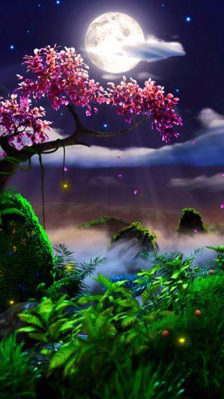Обои на телефон растения, фантазия, природа, облака, ночь, луна, дерево