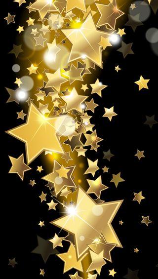 Обои на телефон векторные, шаблон, золотые, звезды, блестящие, абстрактные