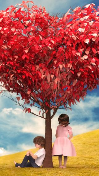 Обои на телефон дерево, сердце, поле, облака, любовь, красые, дети, love