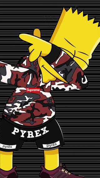 Обои на телефон supreme, логотипы, мультфильмы, желтые, бренды, барт, камуфляж, симпсоны