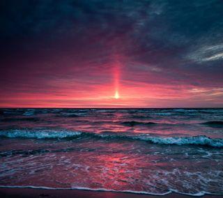 Обои на телефон синие, розовые, небо, вода, море, закат, солнце, облака, волна