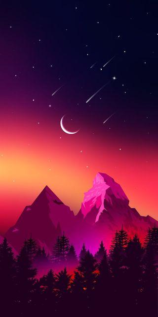 Обои на телефон небо, звезды, горы, wow mountains