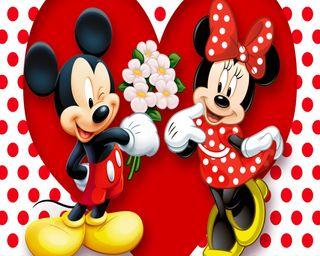 Обои на телефон минни, цветы, пара, милые, микки, маус, любовь, wink, love, good