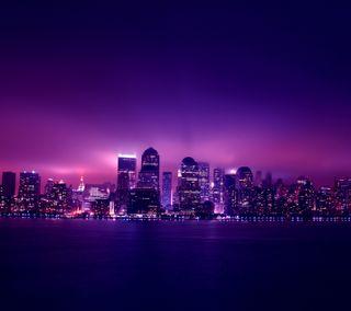 Обои на телефон фиолетовые, темные, океан, огни, ночь, город, горизонт, skyline