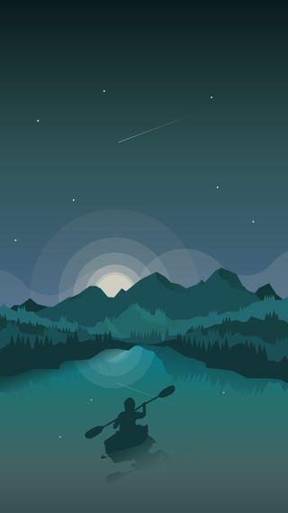 Обои на телефон чистые, темные, река, ночь, минималистичные, горы, аврора, perfect, minimalist canoe, min, canoeing