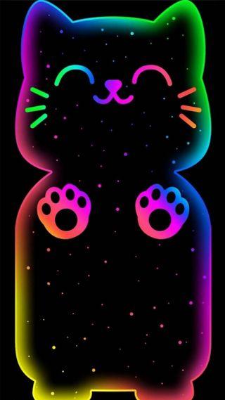Обои на телефон жуткие, черные, синие, сердце, неоновые, милые, котята, neon kitty