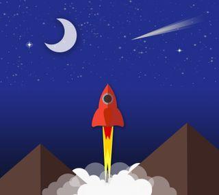 Обои на телефон ракета, плоские, пейзаж, материал, корабли, rocketship