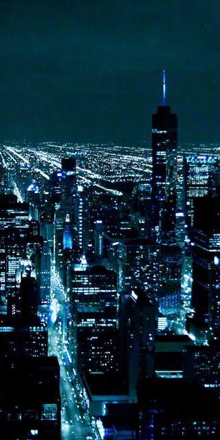 Обои на телефон чикаго, черные, темные, синие, ночь, город