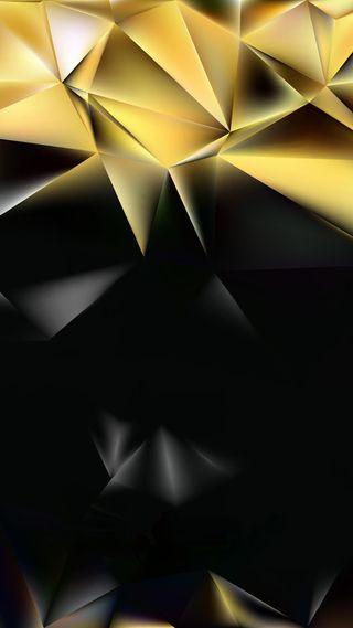 Обои на телефон многоугольник, черные, формы, треугольник, темные, золотые, дизайн