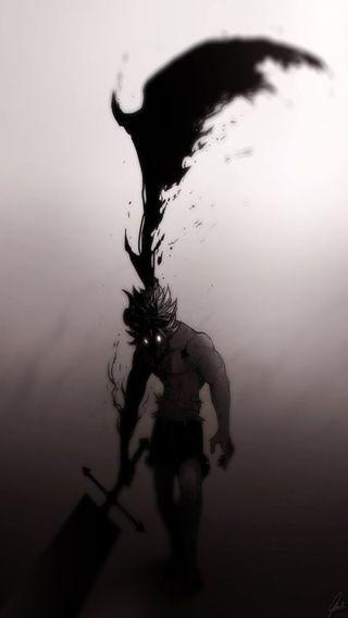 Обои на телефон asta demon form, demon wing, nice btw, black clover asta, черные, крутые, приятные, страшные, меч, демон, клевер, крыло, аста, форма