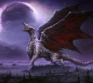 Обои на телефон дрейк, фиолетовые, фантазия, рык, ночь, луна, крылья, змея, дракон, dragon roar, dragon