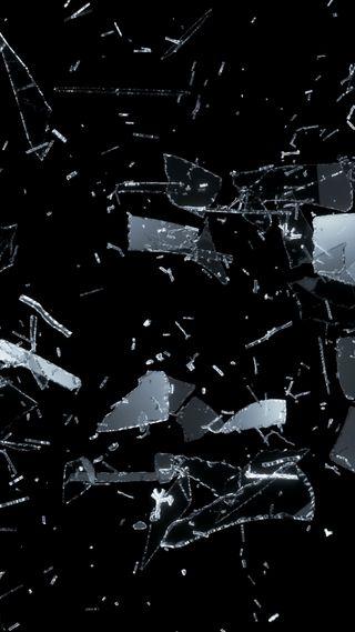 Обои на телефон сломанный, черные, стекло