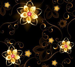 Обои на телефон цветы, цветочные, золотые, дизайн, векторные, арт, абстрактные, golden flowers, art