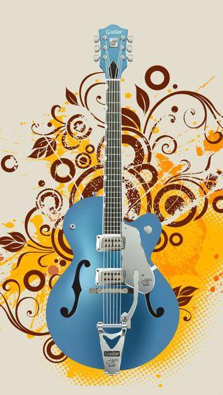 Обои на телефон гитара, синие, музыка
