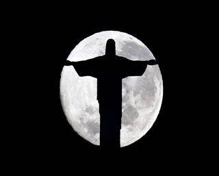 Обои на телефон христианские, темные, силуэт, ночь, луна, исус, господин, kind