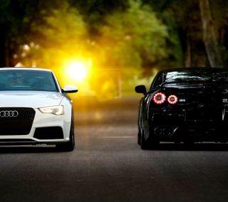 Обои на телефон скорость, новый, ниссан, машины, крутые, ауди, автомобили, авто, nissan, fast, audi versus nissan, audi