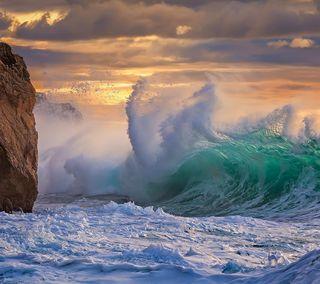 Обои на телефон шторм, природа, море, красота, классные, закат, волны, волна, вода