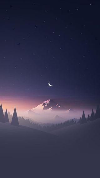 Обои на телефон плоские, приятные, ночь, звезда, горы