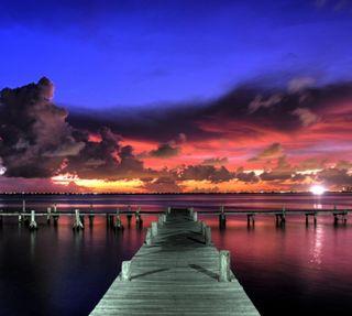 Обои на телефон вечер, озеро, закат