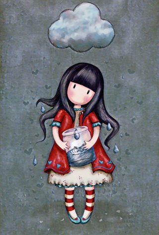 Обои на телефон капли дождя, облака, милые, дождь, девушки, santoro, jar, gorjuss