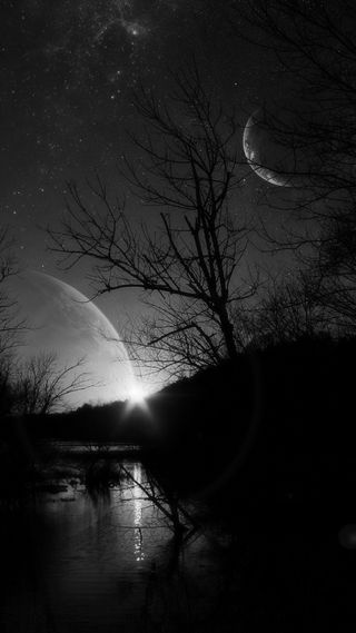 Обои на телефон река, природа, луна