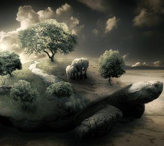Обои на телефон черепаха, слон, фантазия, серые, мама, дерево, mother turtle